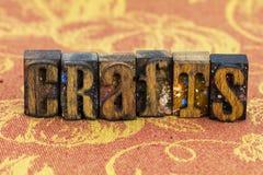 Crafts craftsmanship letterpress. Letterpress type craftsmanship crafts create inspiration message wood block letters cloth typography background stock image