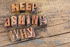 Keep asking why letterpress Royalty Free Stock Images