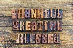 Thankful greatful blessed sign stock photography