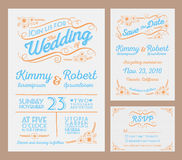 Letterpress Wedding Invitation Collection Royalty Free Stock Photography