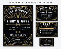 Letterpress Wedding Invitation Design Template Stock Photography