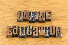 Online education letterpress block sign royalty free stock photo