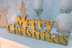 Letterpress wood type Merry Christmas Stock Images