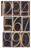 Letterpress wood type numbers isolated. A set of isolated 10 numbers from zero to nine - vintage letterpress wood type printing blocks stock photo