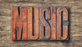 Letterpress wood type printing blocks - Music stock photo