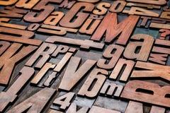 Letterpress wood type printing blocks. Old letterpress wood type printing blocks Royalty Free Stock Images