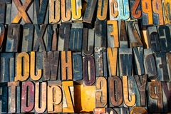 Letterpress Wooden Printing Blocks Closeup royalty free stock images