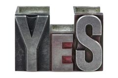 Letterpress Yes Royalty Free Stock Images