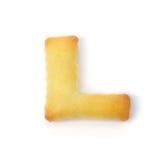 Letterr l сделанное из изолированного печенья шутихи на белой предпосылке Стоковое фото RF