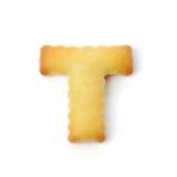 Letterr t сделанное из изолированного печенья шутихи на белой предпосылке Стоковое фото RF
