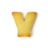 Letterr y сделанное из изолированного печенья шутихи на белой предпосылке Стоковая Фотография