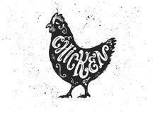 letterring在剪影的鸡 免版税库存图片
