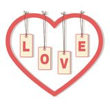 Letters «LOVE» hanging inside the heart. Stock Image