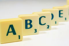 Letters. Alphabet text and scrabble games stock photos