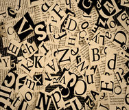 Letters. Cut from newspaper, background stock images