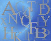 Letters. Alphabet on blue background royalty free illustration