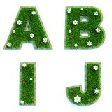 Letters A, B, I, J As Lawn - Set Of 3d. Royalty Free Stock Images