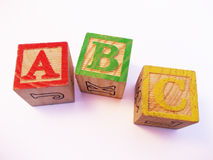 Letters ABC on preschool kids wooden block Royalty Free Stock Image