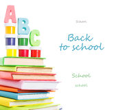 Letters abc and stack of books Stock Images