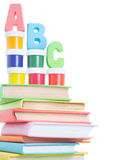 Letters abc and stack of books Royalty Free Stock Photo