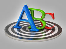 Letters abc and target Stock Images