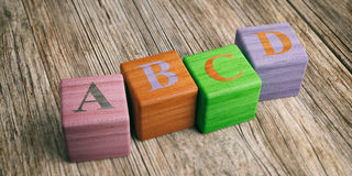 Letters abcd on wooden blocks. 3d illustration. School concept - abcd letters on wooden blocks. 3d illustration Royalty Free Stock Photography