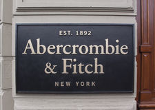 Letters abercrombie and fitch on a store facade royalty free stock photos