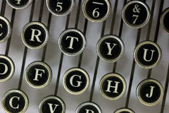 Letters from above on an old typewriter Royalty Free Stock Photo