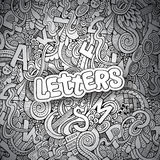 Letters abstract decorative doodles background Royalty Free Stock Images