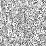 Letters abstract decorative doodles seamless pattern. Royalty Free Stock Image
