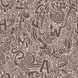 Letters abstract decorative doodles seamless pattern. Royalty Free Stock Photo