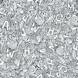 Letters abstract decorative doodles seamless pattern Stock Photography