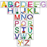 Letters of the alphabet. The picture shows all the letters of the alphabet, each letter is accompanied nicely by animals, musical instruments and many Royalty Free Stock Photography