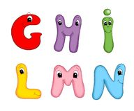 Letters of the alphabet - 2. Colored illustration of the letters of the alphabet. According to group Stock Image