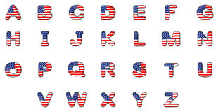Letters of the alphabet with the American flag. Illustration of the letters of the alphabet with the American flag on a white background Royalty Free Stock Photo