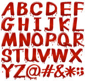Letters of the alphabet in bloody fontstyle Stock Photo