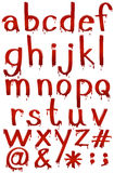Letters of the alphabet in bloody template Stock Photography
