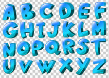 Letters of the alphabet in blue colors Stock Image