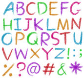 Letters of the alphabet in bright colors Stock Photos