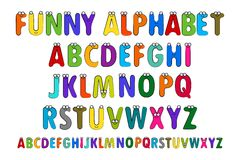 Letters Alphabet for Children Education. Cartoon Vector Illustration of Funny Capital Letters Alphabet for Children Education. Funny alphabet with eyes. Vector royalty free illustration
