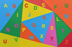 Letters of the alphabet. Letters of English alphabet written in various colors Stock Photography