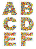 Letters of the alphabet A through F made from colorful glass bea Stock Image