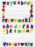 Letters alphabet notebook paper copy space stock photography