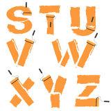 Letters of the alphabet painted with paint roller Royalty Free Stock Photos
