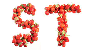 Letters alphabet of red ripe strawberries. Red strawberries isolated on white background. English alphabet Royalty Free Stock Photo