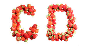 Letters alphabet of red ripe strawberries. Red strawberries isolated on white background. English alphabet Stock Photography