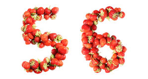 Letters alphabet of red ripe strawberries. Red strawberries isolated on white background. English alphabet Stock Photo