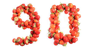 Letters alphabet of red ripe strawberries. Red strawberries isolated on white background. English alphabet Stock Photos