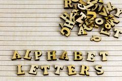 Letters alphabet school lined paper pile stock images