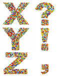 Letters of the alphabet X through Z and punctuation marks made f Stock Photography